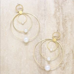 Statement Pearl and Multi Hoop Earring in Gold